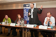 John Cruddas MP; Gill Goodsewn, NUT President; Nick Lowles, Searchlight; Kevin Courtney, NUT DGS. Hope Not Hate fringe meeting at the TUC Conference 2010.