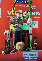 Second placed Robert Kranjec (SLO) and Winner Peter Prevc (SLO) celebrates at trophy ceremony after Ski Flying Hill Individual Competition at Day 4 of FIS Ski Jumping World Cup Final 2016, on March 20, 2016 in Planica, Slovenia. Photo by Vid Ponikvar / Sportida