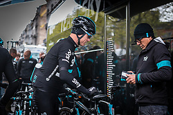 Ian Boswell (USA) of Team Sky at Liège, before the start of the 102th edition of Liège-Bastogne-Liège race running 253 km from Liège to Liège, Belgium, 24 April 2016.<br /> Photo by Pim Nijland / PelotonPhotos.com<br /> <br /> All photos usage must carry mandatory copyright credit (© Peloton Photos | Pim Nijland)