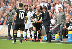 Modou Barrow of Swansea City gets in a argument over the ball with Chelsea Manager Antonio Conte and Cesar Azpilicueta of Chelsea- Mandatory byline: Alex James/JMP - 07966386802 - 11/09/2016 - FOOTBALL - Barclays premier league -swansea,Wales - Swansea v Chelsea  -