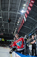 KELOWNA, CANADA - OCTOBER 31: Tate Coughlin #18  of the Kelowna Rockets celebrates a first period goal against the Lethbridge Hurricanes on October 31, 2015 at Prospera Place in Kelowna, British Columbia, Canada.  (Photo by Marissa Baecker/Shoot the Breeze)  *** Local Caption *** Tate Coughlin;