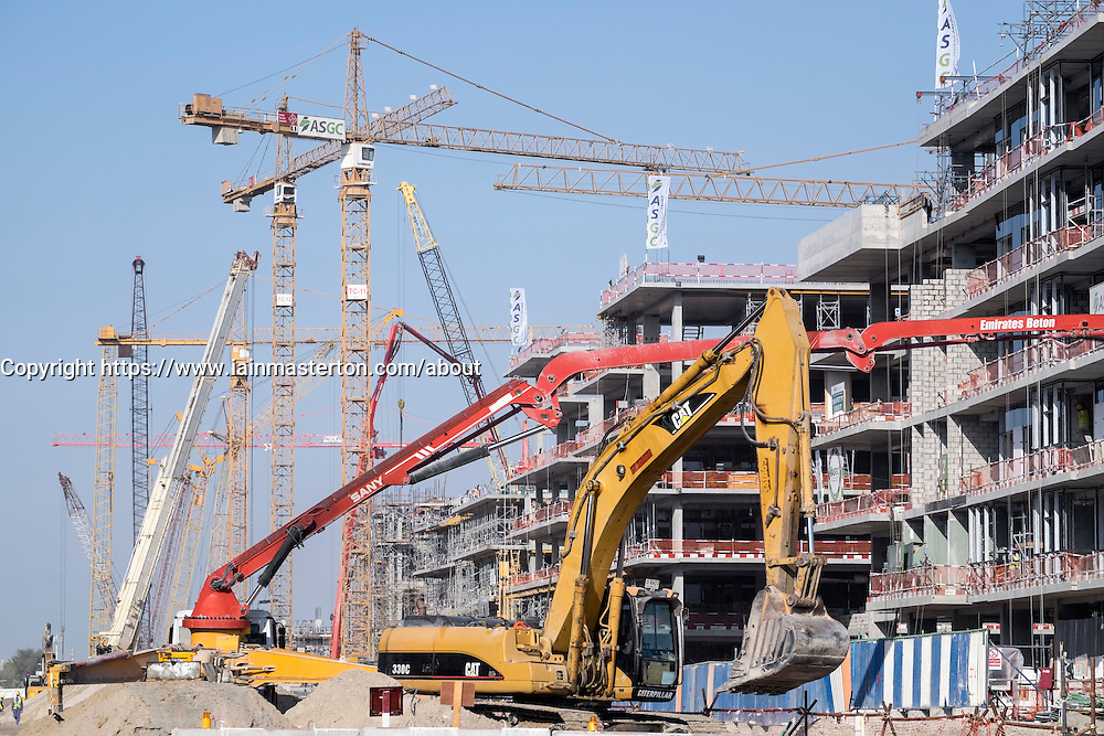 Construction of new luxury apartment buildings in Dubai United Arab Emirates