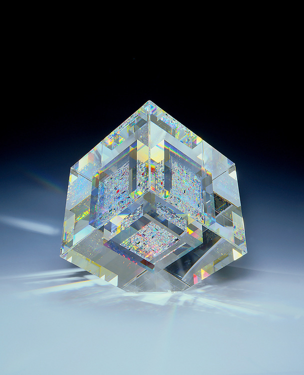 bonded optical crystal, 9 3/4 inches all around by John Kuhn