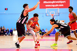 Tevin Falzon of Bristol Flyers is challenged by Kai Williams of Newcastle Eagles - Photo mandatory by-line: Ryan Hiscott/JMP - 03/11/2018 - BASKETBALL - SGS Wise Arena - Bristol, England - Bristol Flyers v Newcastle Eagles - British Basketball League Championship