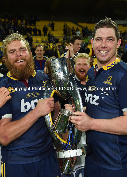 Mark Reddish and Joe Wheeler during the Super Rugby Final between the Hurricanes and Highlanders at Westpac Stadium in Wellington., New Zealand. Saturday 4 July 2015. Copyright Photo: Andrew Cornaga / www.Photosport.nz