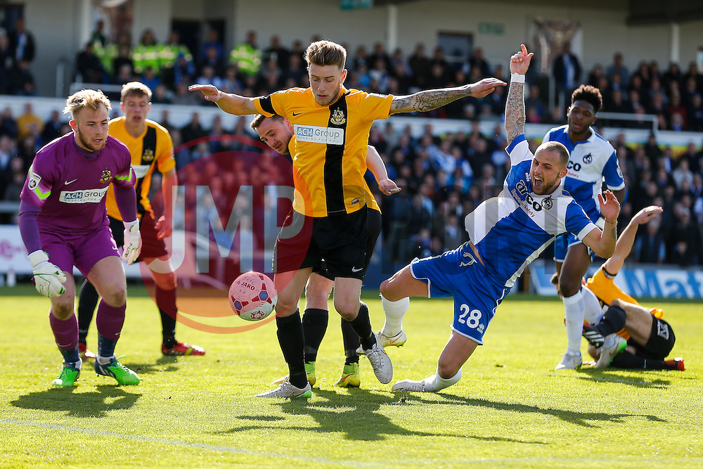 Adam Dawson of Bristol Rovers challenges - Photo mandatory by-line: Rogan Thomson/JMP - 07966 386802 - 11/04/2015 - SPORT - FOOTBALL - Bristol, England - Memorial Stadium - Bristol Rovers v Southport - Vanarama Conference Premier.