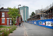 UK. Manchester. Salford. The Langworthy area of Salford where a new £15m development called Chimney Pot Park is being developed amongst  the boarded up areas..Photo©Steve Forrest/Workers Photos