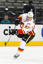 Feb 8, 2012; San Jose, CA, USA; Calgary Flames center Lance Bouma (57) warms up before the game against the San Jose Sharks at HP Pavilion. Calgary defeated San Jose 4-3. Mandatory Credit: Jason O. Watson-US PRESSWIRE