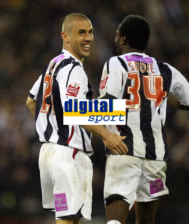 Photo: Rich Eaton.<br /> <br /> West Bromwich Albion v Wolverhampton Wanderers. Coca Cola Championship. Play off Semi Final 2nd Leg. 16/05/2007. West Broms Kevin Phillips scores the first goal of the evening and celebrates with Sam Sodje