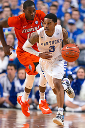 Kentucky guard Tyler Ulis, right, brings the ball up the floor in the first half.<br /> <br /> The University of Kentucky hosted the University of Florida, Saturday, Feb. 06, 2016 at Rupp Arena in Lexington .