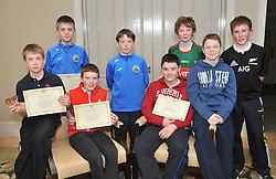 Westport Athletics Awards Boys U12 &amp; U13<br /> All Ireland, Connacht and Mayo medalists from left Rossa McAllister, Kian Moore, Oisin Ryall, Malcolm McEvilly, Adam Sheridan, Ronan O'Donnell, Cillian Heaney and Joseph O'Grady.<br /> Pic Conor McKeown