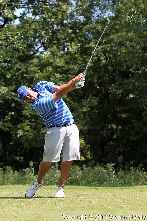 Gregory O'Mahony of Tequesta, Florida tees off on the 15th hole during the first round of the Greater Cedar Rapids Open held at Hunters Ridge Golf Course in Marion on Friday, July 22, 2011.