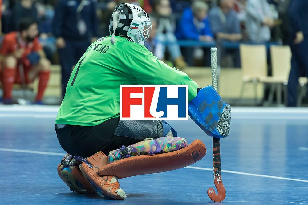 Hockey, Seizoen 2017-2018, 09-02-2018, Berlijn,  Max-Schmelling Halle, WK Zaalhockey 2018 MEN, Iran - Czech Republic 2-2 Iran Wins after shoutouts, Sasan Hataminejad (GK) .