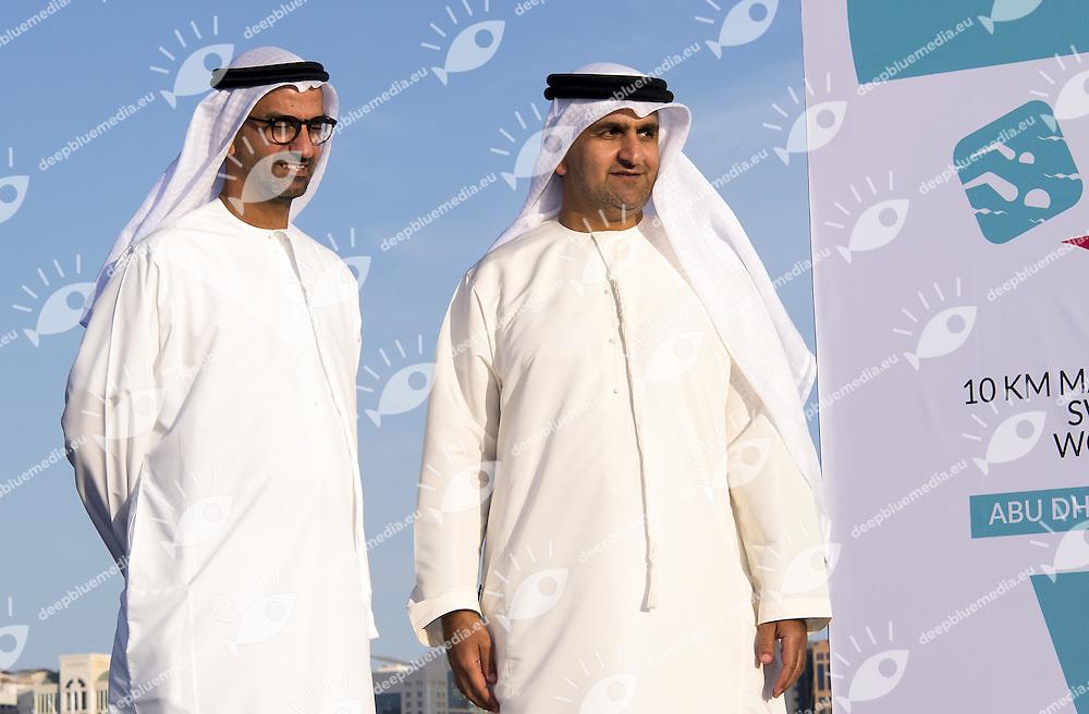 Ahmed Al Falasi, President UAE Swimming Federation (L); Arif Awani Abu Dhabi Sports Council (R)<br /> 10 Km FINA/HOSA Marathon Swimming World Cup<br /> Abu Dhabi Sailing and Yacht club<br /> Abu Dhabi U.A.E. 11 - 13 march 2015<br /> Day 3 - March 13 th <br /> Photo Giorgio Scala / Deepbluemedia