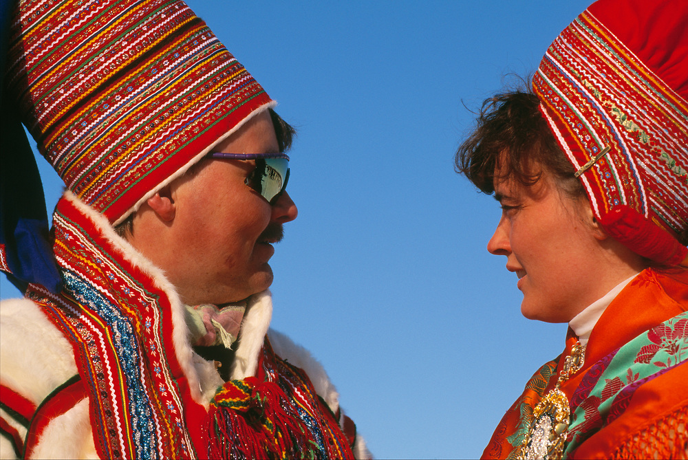 Saami couple, at the Saami Easter festival, Kautokeino, Finnmark, Norway