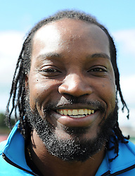 Somerset's Chris Gayle poses during a Press Call at the County Ground, Taunton on the 3rd of June 2015. - Photo mandatory by-line: Harry Trump/JMP - Mobile: 07966 386802 - 03/06/15 - SPORT - CRICKET - Chris Gayle Press Conference - The County Ground, Taunton, England.
