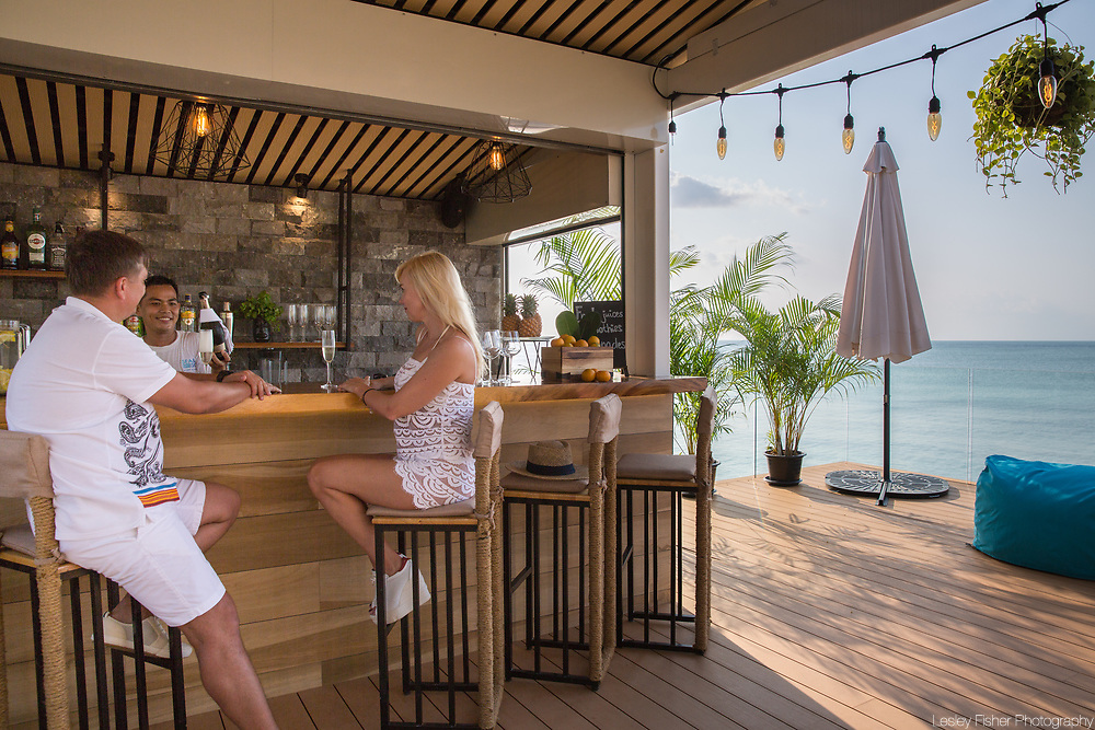 Refreshments being served at the upper bar at Sea and Sky beach front restaurant located on Ban Tai beach, Koh Samui, Thailand