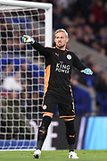 Leicester City goalkeeper Kasper Schmeichel (1) during the Premier League match between Leicester City and Manchester City at the King Power Stadium, Leicester, England on 18 November 2017. Photo by Jon Hobley.