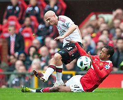 19.09.2010, Old Trafford, Manchester, ENG, PL, Manchester United vs Liverpool FC, im Bild Liverpool's Paul Konchesky and Manchester United's Nani during the Premiership match at Old Trafford, EXPA Pictures © 2010, PhotoCredit: EXPA/ Propaganda/ D. Rawcliffe *** ATTENTION *** UK OUT! / SPORTIDA PHOTO AGENCY