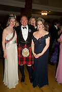 MRS. ANTONY FRASER, LORD BIDDULPH AND MRS. ANTONY FOYLE, The Royal Caledonian Ball 2008. In aid of the Royal Caledonian Ball Trust. Grosvenor House. London. 2 May 2008.  *** Local Caption *** -DO NOT ARCHIVE-? Copyright Photograph by Dafydd Jones. 248 Clapham Rd. London SW9 0PZ. Tel 0207 820 0771. www.dafjones.com.