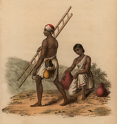 Milk-sourer and his wife: India. Hand-coloured engraving published Rudolph Ackermann, London, 1822.