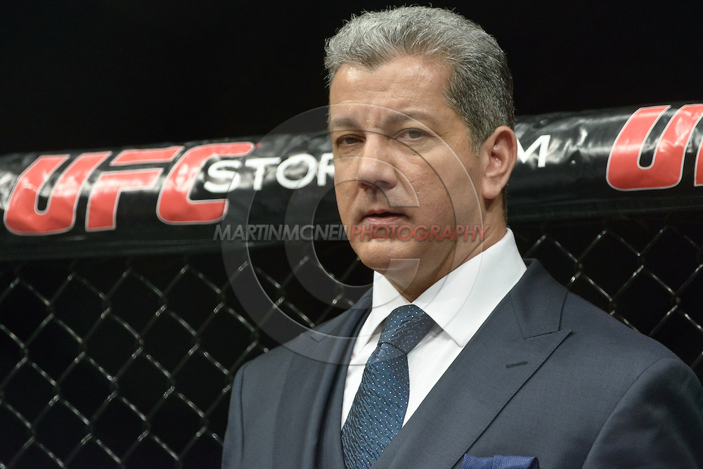 LONDON, ENGLAND, FEBRUARY 16, 2013: Bruce Buffer waits for his cue at the start of the live broadcast segment of UFC on Fuel TV 7: Barao vs. McDonald inside Wembley Arena in Wembley, London on Saturday, February 16, 2013 (© Martin McNeil)