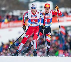 24.02.2019, Seefeld, AUT, FIS Weltmeisterschaften Ski Nordisch, Seefeld 2019, Nordischen Kombination, Teambewerb, Langlauf, im Bild v.l. Jarl Magnus Riiber (NOR), Franz-Josef Rehrl (AUT) // f.l. Jan Schmid of Norway and Franz-Josef Rehrl of Austria during the cross country for the team competition Nordic Combined of FIS Nordic Ski World Championships 2019. Seefeld, Austria on 2019/02/24. EXPA Pictures © 2019, PhotoCredit: EXPA/ Stefan Adelsberger