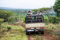 Anti-poaching Patrol by vehicle along the protected area boundary, Thula Thula Game Reserve, KwaZulu Natal, South Africa