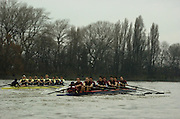 2004_Oxford University Trail Eights, Putney, London:ENGLAND. 14.12.04. Crew list. OUBC [right to left].Indians [Middlx].Bow Jamie Anderson, Nick Thomas-Peter, Robin Esmond-Frej, Jo Von Maltzahn, Peter Reed, Colin Smith, Robin Bourne-Taylor [President] Barney Williams. and cox Nick Brodie..Cowboys [Surrey].Bow Jake Sattlemair, Andrew Keats, Andrew Brennan, David Livingstone, Michael Blomquist. Henry Morris, Andy Triggs Hodge and cox Acer Nethercott..Photo Peter Spurrier.email images@intersport-images.com. ...........[Mandatory Credit Peter Spurrier/ Intersport Images] Varsity:Boat Race, Rowing Course: River Thames, Championship course, Putney to Mortlake 4.25 Miles