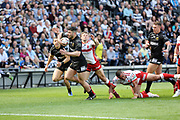 Hull FC outside back Jake Connor (14) scores the opening try during the Betfred Super League match between Hull FC and Hull Kingston Rovers at Kingston Communications Stadium, Hull, United Kingdom on 19 April 2019.