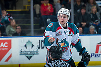 KELOWNA, CANADA - MARCH 14:  Gordie Ballhorn #4 of the Kelowna Rockets yells complaints at referee Mark Pearce after a third period line brawl with the Prince George Cougars on March 14, 2018 at Prospera Place in Kelowna, British Columbia, Canada.  (Photo by Marissa Baecker/Shoot the Breeze)  *** Local Caption ***