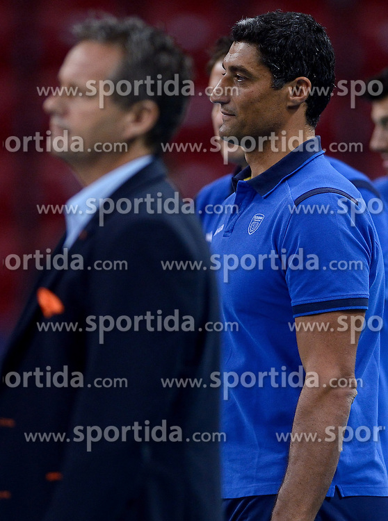 Coach Andrea Giani, Coach Gido Vermeulen during volleyball match between National teams of Netherlands and Slovenia in Playoff of 2015 CEV Volleyball European Championship - Men, on October 13, 2015 in Arena Armeec, Sofia, Bulgaria. Photo by Ronald Hoogendoorn / Sportida