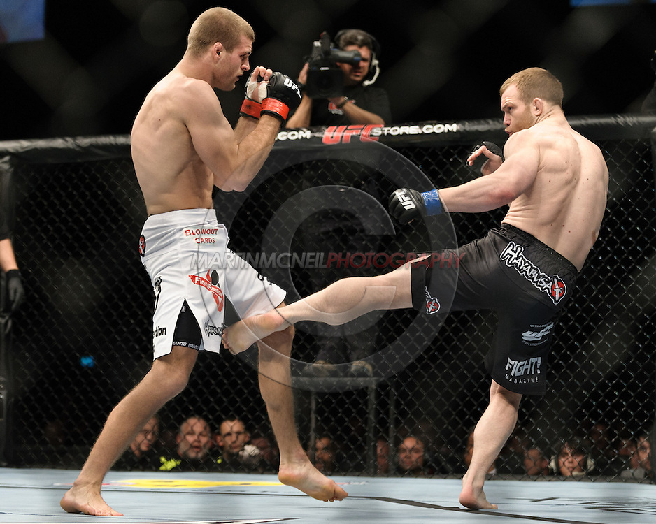 OBERHAUSEN, GERMANY, NOVEMBER 13, 2010: Pascal Krauss and Mark Scanlon during UFC 122 inside the Konig Pilsner Arena in Oberhausen, Germany.