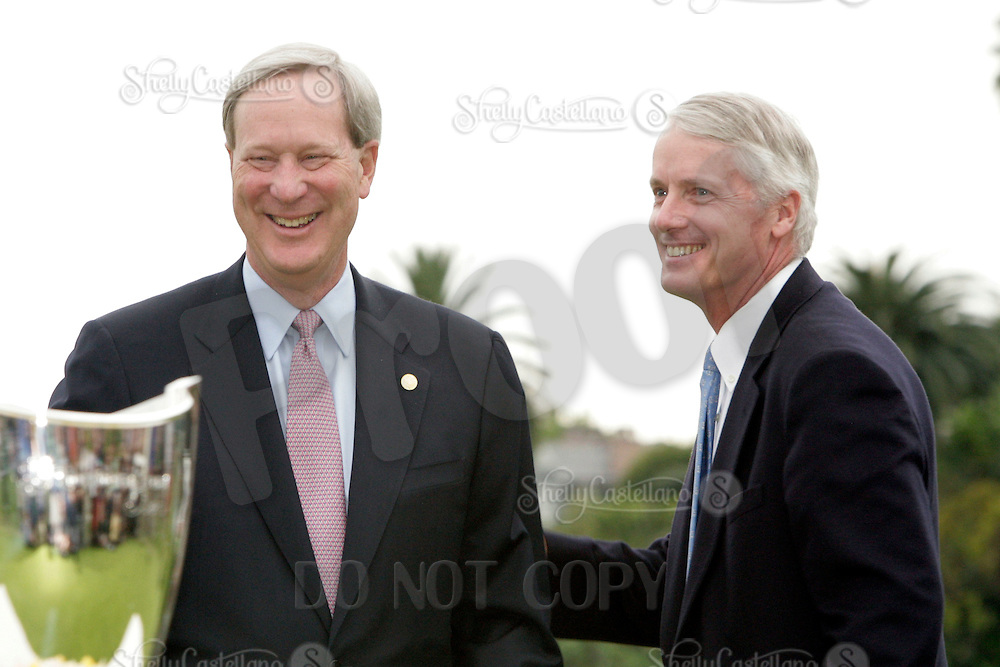 22 February 2009: Representatives of Northern Trust Corporation William Osborn (Chairman of the Board) and Frederick Waddell (President and CEO) during the trophy ceremony after the final round of the PGA Tour 2009 Northern Trust Open at The Riviera Country Club on Sunday in Los Angeles, CA.  Northern Trust received monetary funds during the bailout, but still sponsored this event despite taking government handout.
