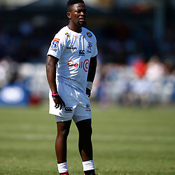Sanele Nohamba of the Cell C Sharks during the super rugby match between the Melbourne Rebels and the Cell C Sharks at the  Mars Stadium,Ballarat,Western suburbs of Melbourne,Victoria, Australia, 22,020,2020 (Photo Steve Haag /HollywoodBets)