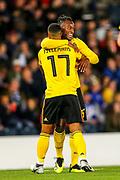 Michy Batshuayi (#23) of Belgium celebrates Belgium's third goal (0-3) with Youri Tielemans (#17) of Belgium during the International Friendly match between Scotland and Belgium at Hampden Park, Glasgow, United Kingdom on 7 September 2018.