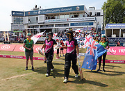 Sophjie Devine and Suzie Bates walk out to bat during the international T20 Final between England Women and the White Ferns at the County Ground, Chelmsford. Photo: Graham Morris/www.photosport.nz 28/06/18
