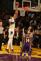February 27, 2019 - Los Angeles, CA, U.S. - LOS ANGELES, CA - FEBRUARY 27: New Orleans Pelicans Forward Anthony Davis (23) dunks during the first half of the New Orleans Pelicans versus Los Angeles Lakers game on February 27, 2019, at Staples Center in Los Angeles, CA. (Photo by Icon Sportswire) (Credit Image: © Icon Sportswire/Icon SMI via ZUMA Press)