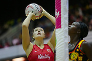 England Women GS George Fisher shoots during the Netball World Cup 2019 Preparation match between England Women and Uganda at Copper Box Arena, Queen Elizabeth Olympic Park, United Kingdom on 30 November 2018.