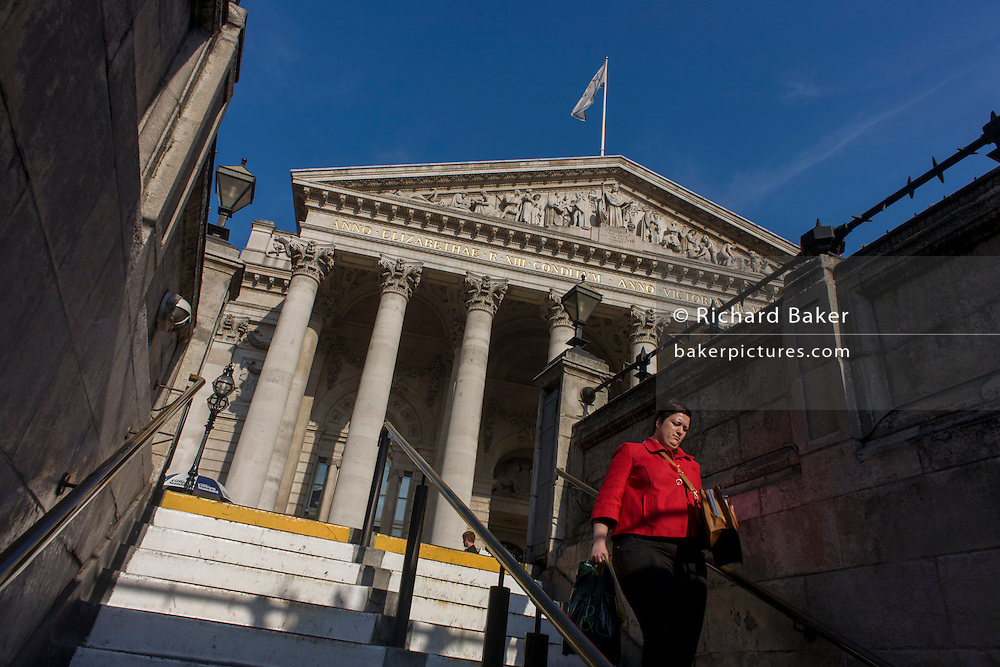 Neo-classical architecture of Cornhill Exchange, City of London.