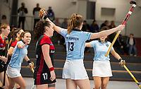 HAMBURG  (Ger) - Rotweiss Wettingen (Sui)  v  MHC Laren (Ned).  foto:  Pam van Asperen (Laren) scores 0-1. left Sabrina Solomons (Wett)       , Eurohockey Indoor  Club Cup 2019 Women . WORLDSPORTPICS COPYRIGHT  KOEN SUYK