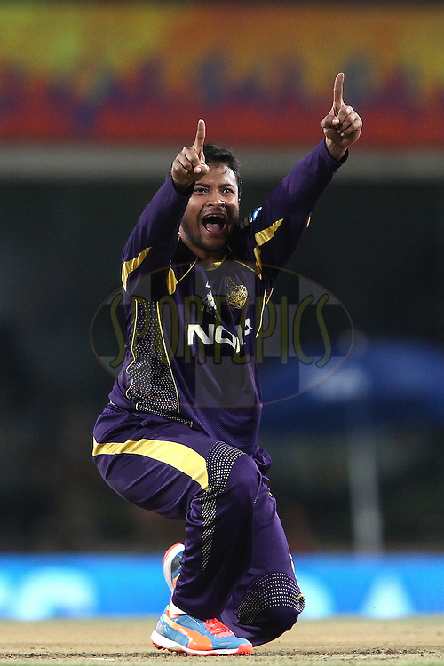 Shakib Al Hasan of the Kolkata Knight Riders appeals successfully for LBW to get Dwayne Smith of The Chennai Super Kings wicket during match 21 of the Pepsi Indian Premier League Season 2014 between the Chennai Superkings and the Kolkata Knight Riders  held at the JSCA International Cricket Stadium, Ranch, India on the 2nd May  2014<br /> <br /> Photo by Shaun Roy / IPL / SPORTZPICS<br /> <br /> <br /> <br /> Image use subject to terms and conditions which can be found here:  http://sportzpics.photoshelter.com/gallery/Pepsi-IPL-Image-terms-and-conditions/G00004VW1IVJ.gB0/C0000TScjhBM6ikg