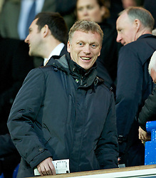 BLACKBURN, ENGLAND - Tuesday, April 10, 2012: Everton's manager David Moyes is all smiles as he sees another Liverpool goalkeeper sent off prior to the two Merseyside sides meeting in the FA Cup Semi Final, during the Premiership match at Ewood Park. (Pic by David Rawcliffe/Propaganda)