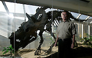 Photo Randy Vanderveen, Oct. 1/08.Grande Prairie, Alberta.Al  Lakusta poses beside a replica skeleton of a pachyrhinosaurus he discovered at Pipestone Creek southwest of Grande Prairie in 1974. The replica is on display at Grande Prairie Regional College. Through ongoing exploration  in the Grande Prairie area and continuing studies; it was discovered that this dinosaur is a different species of pachyrhinosaurus. Renowned palaeontologist Phil Currie introduced the species new name at Grande Prairie Regional College Wednesday evening.