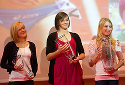 Dorotea Rebernik, Eva Vivod and Marusa Mismas  during the Slovenia's Athlete of the year award ceremony by Slovenian Athletics Federation AZS, on November 12, 2008 in Hotel Mons, Ljubljana, Slovenia.(Photo By Vid Ponikvar / Sportida.com) , on November 12, 2010.