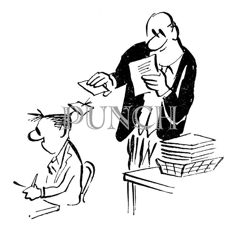 (A businessman sticks sheets of paper on an office boy's spikey hair)