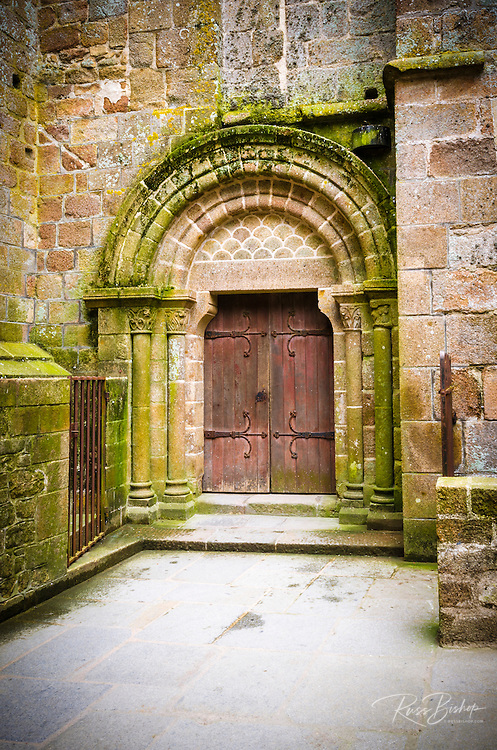 Abbey door, Mont Saint-Michel monastery, Normandy, France