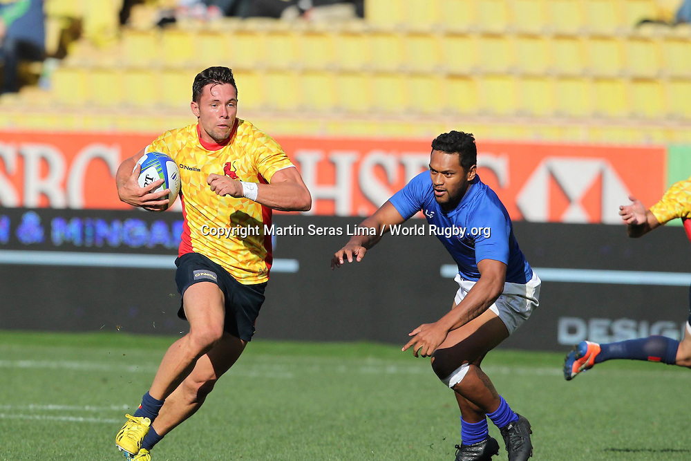 Spain avoid the Samoa defence in the Championship Cup final, Final Cup for Rio Espana 22 v 19 Samoa, Second day at World Rugby Monaco Sevens 2016 at Stade Louis II, Monaco - Photo Martin Seras Lima