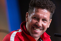 Atletico de Madrid coach Diego Simeone during press conference the day before Europa League match between Atletico de Madrid and Sporting de Lisboa at Wanda Metropolitano in Madrid, Spain. April 04, 2018. (ALTERPHOTOS/Borja B.Hojas)