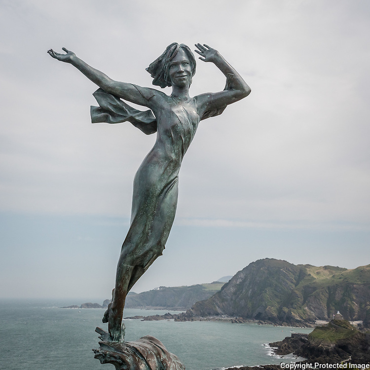 Statue of 'Ekaterine' in memory of a girl who fell from Hillsborough cliffs, Ilfracombe, Devon.